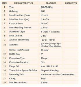 جدول مشخصات کنتور گاز دیافراگمی گازسوزان کد G40