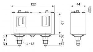 ابعاد پرشر سوئیچ KP15 دانفوس Danfoss - پیشرو صنعت آزما