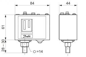 ابعاد پرشر سوئیچ KP36 , KP35 دانفوس Danfoss - پیشرو صنعت آزما
