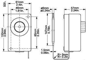 ابعاد ترموستات دانفوس Danfoss کد UT 72 - پیشرو صنعت آزما