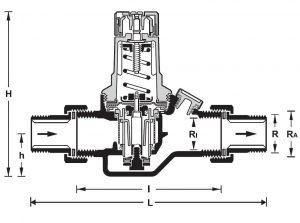 ابعاد فشار شکن آبهانیولسری D05FS - پیشرو صنعت آزما