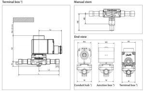 ابعاد 2 شیر برقی جوشی دانفوس Danfoss کد EVR 10 - پیشرو صنعت آزما