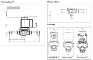 ابعاد 2 شیر برقی جوشی دانفوس Danfoss کد EVR 15 - پیشرو صنعت آزما