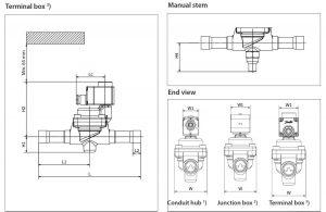 ابعاد 2 شیر برقی جوشی دانفوس Danfoss کد EVR 25 - پیشرو صنعت آزما