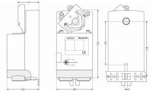 ابعاد موتور دمپر هانیول سری N - پیشرو صنعت آزما