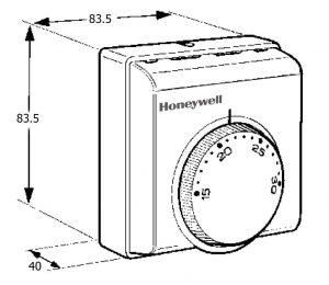 ابعاد کنترلر دما هانیول کد T8078C1009 - پیشرو صنعت آزما