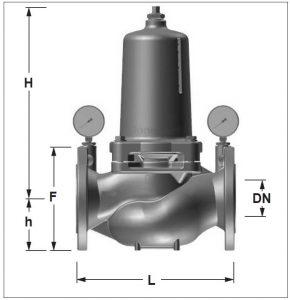 ابعاد شیر فشار شکن آب هانیول سری D15S - پیشرو صنعت آزما