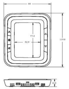 ابعادترموستات هانیول سری HALO کد T6861V2WB - پیشرو صنعت آزما