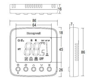ابعاد ترموستات محیطی هانیول سری O1 مدل TF228WN - پیشرو صنعت آزما