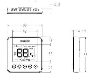 ابعادترموستات هانیولمدل TF428 Series O3 - پیشرو صنعت آزما
