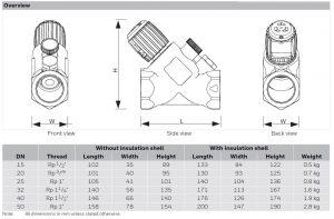 ابعاد شات آف ولو هانیول سری V5001SY Kombi-S - پیشرو صنعت آزما