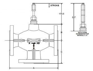 ابعاد شیر سه راهه مخلوط کننده هانیولV5015A - پیشرو صنعت آزما