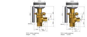 ابعاد 2 شیر انبساط دانفوس Danfoss مدل TE 55 - پیشرو صنعت آزما