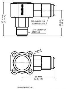 ابعاد بدنه شیر انبساط ( اکسپنشن ولو ) دانفوس Danfoss کد 067B4013 - پیشرو صنعت آزما