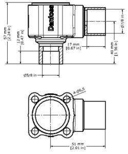 ابعاد بدنه شیر انبساط ( اکسپنشن ولو ) دانفوس Danfoss کد 067B4022 - پیشرو صنعت آزما