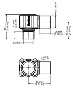 ابعاد بدنه شیر انبساط ( اکسپنشن ولو ) دانفوس Danfoss کد 067B4023 - پیشرو صنعت آزما