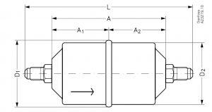ابعاد فیلتر درایر مهرهای DCL08-16 دانفوس Danfoss - پیشرو صنعت آزما