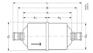 ابعاد فیلتر درایر جوشی DCL08-16 دانفوس Danfoss - پیشرو صنعت آزما