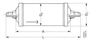 ابعاد فیلتر درایر مهرهای DCL30 دانفوس Danfoss - پیشرو صنعت آزما