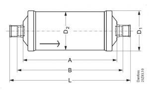 ابعاد فیلتر درایر جوشی DCL30 دانفوس Danfoss - پیشرو صنعت آزما