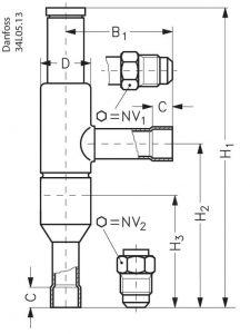 ابعاد رگلاتور فشار دانفوس Danfoss مدل KVL - پیشرو صنعت آزما