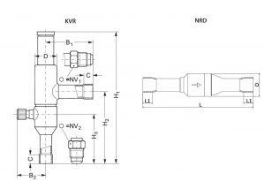 ابعاد رگلاتور فشار دانفوس Danfoss مدل KVR & NRD - پیشرو صنعت آزما
