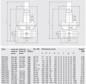 ابعاد بالانسر گاز دانگز DUNGS مدل FRS - پیشرو صنعت آزما