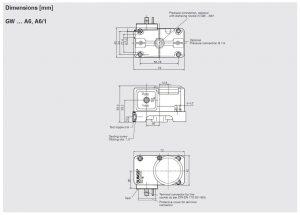 ابعاد پرشر سوئیچ گاز و هوا دانگز DUNGS مدل GW A6 - پیشرو صنعت آزما