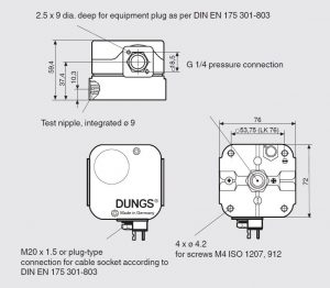 ابعاد پرشر سوئیچ گاز و هوا دانگز DUNGS مدل GW 500 A4 - پیشرو صنعت آزما