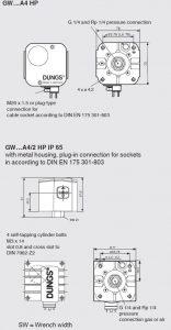 ابعاد پرشر سوئیچ گاز و هوا دانگز DUNGS مدل GW A4 - پیشرو صنعت آزما