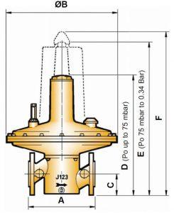 ابعاد رگلاتور گاز صنعتی الستر جیوانز elster jeavons مدل J123 - پیشرو صنعت آزما
