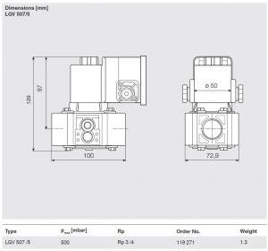 ابعاد شیر برقی ونت گاز (ونت سلونوئید ولو Vent gas solenoid valve) دانگز DUNGS کد LGV 507/5 - پیشرو صنعت آزما
