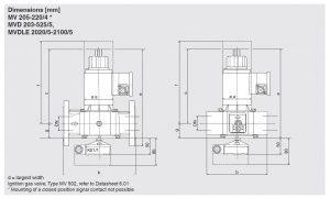 ابعاد شیر برقی تکضرب تک مرحله دانگز DUNGS مدل MVDL-MVD-MV - پیشرو صنعت آزما