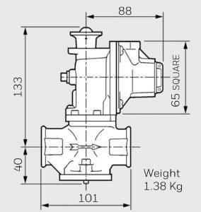 ابعاد اسلم شات آف ولو Slam Shut Off Valve الستر جیوانزelster jeavons مدل S300 - پیشرو صنعت آزما