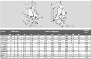 ابعاد 3 شیر برقی تکضرب گاز (سلونوئید ولو) کروم شرودر krom schroder مدل VAS..N - پیشرو صنعت آزما