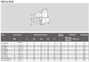 ابعاد شیر برقی تکضرب گاز (سلونوئید ولو) کروم شرودر krom schroder مدل VG - پیشرو صنعت آزما