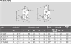 ابعاد 2 شیر برقی تدریجی و تکضرب گاز (سلونوئید ولو) کروم شرودر krom schroder مدل VG - پیشرو صنعت آزما