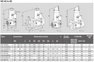 ابعاد 3 شیر برقی تدریجی و تکضرب گاز (سلونوئید ولو) کروم شرودر krom schroder مدل VG - پیشرو صنعت آزما