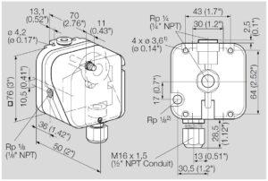 ابعاد پرشر سوئیچ گاز کروم شرودر krom schroder مدل DG - پیشرو صنعت آزما