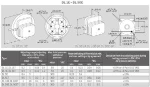 ابعاد پرشر سوئیچ هوا کروم شرودر krom schroder مدل DL..E - پیشرو صنعت آزما