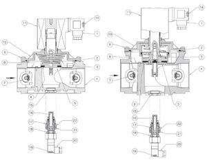 بخش های مختلف 3 شیر برقی گاز (سلونوئید ولو) ماداس MADAS مدل EVPR-EVPCR - پیشرو صنعت آزما