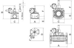 ابعاد 2 شات آف ولو (Shut off valve) ماداس MADAS مدل MVB - پیشرو صنعت آزما