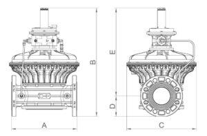 ابعاد 4 بالانسر گاز ماداس MADAS مدل RG/2MC - FRG/2MC - پیشرو صنعت آزما