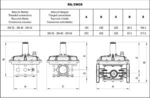 ابعاد رگلاتور گاز ماداس MADAS مدل RG/2MCS - RG/2MBZ - پیشرو صنعت آزما