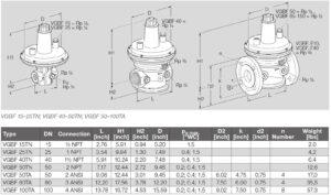 ابعاد بالانسر گاز کروم شرودر krom schroder مدل VGBF - پیشرو صنعت آزما