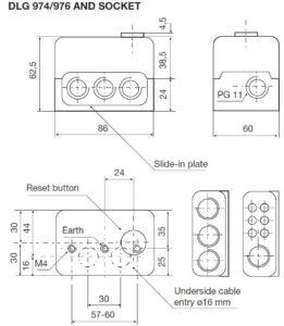 ابعاد رله مشعل گازی هانیول Honeywell مدل DLG 974 یا DLG 976 - پیشرو صنعت آزما