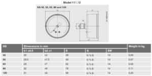 ابعاد 3 فشارسنج (مانومتر) ویکا WIKA مدل 111.10 , 111.12 - پیشرو صنعت ازما