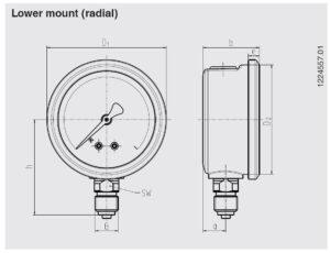 ابعاد فشارسنج (مانومتر) ویکا WIKA مدل 213.53 - پیشرو صنعت آزما