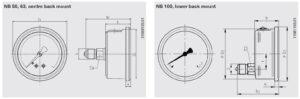 ابعاد 2 فشارسنج (مانومتر) ویکا WIKA مدل 213.53 - پیشرو صنعت آزما