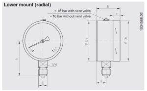 ابعاد فشارسنج (مانومتر) ویکا WIKA مدل 232.30 , 233.30 - پیشرو صنعت آزما